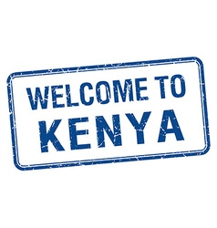 Welcome to kenya blue grunge square stamp vector
