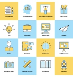 Advertising flat line icons vector