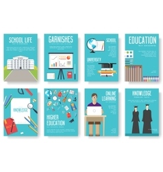 Back to school set of cards design vector image vector image