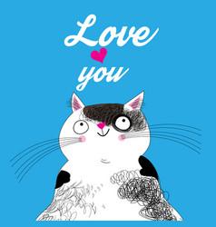 Big cat in love vector