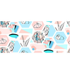 Bunny rabbits cute characters set for easter vector