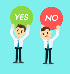 businessman holding yes or no sign vector image vector image