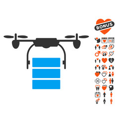 cargo drone icon with love bonus vector image vector image