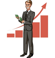 Cartoon businessman count money with growth chart vector image