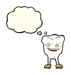 Cartoon happy tooth character with thought bubble vector