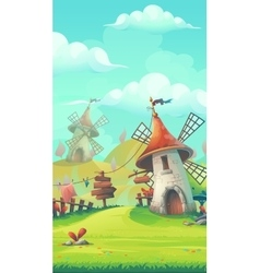 Cartoon landscape with a windmill vector image