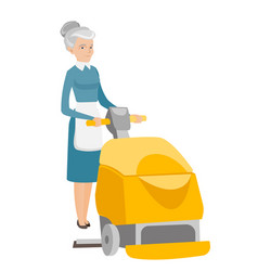 Caucasian worker cleaning store floor with machine vector