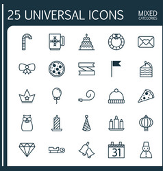 Christmas icons set collection of blank ribbon vector