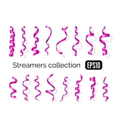 Collection of pink streamers and party ribbons vector image vector image