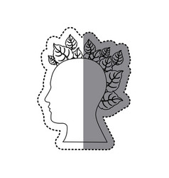 contour human with leaves icon vector image vector image