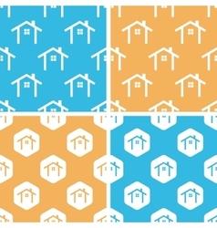 Cottage pattern set colored vector