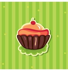 cute retro cupcake vector image vector image