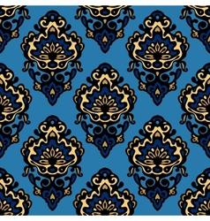 Damask blue flower seamless patter vector image