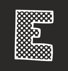E alphabet letter with white polka dots on black vector