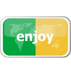 Enjoy Flat web button icon World map earth icon vector image vector image