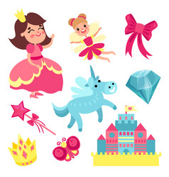 Fairy tale set little princess and fairy with vector