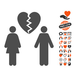 Family divorce icon with valentine bonus vector