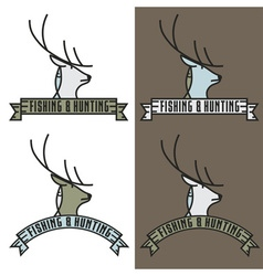 Fishing and hunting line craft vintage label vector