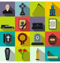 Funeral and burial flat icons vector image