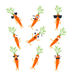 Funny carrot - isolated cartoon emoticons vector