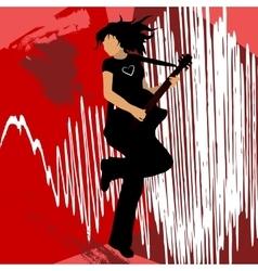 girl playing bass guitar vector image vector image