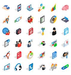Globe database icons set isometric style vector