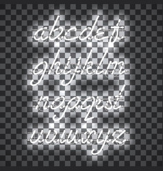 Glowing white neon lowercase script font vector