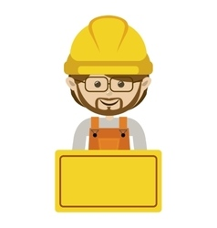 Half body avatar worker with toolkit and glasses vector