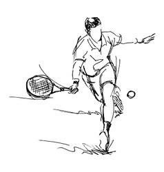 Hand sketch tennis player vector image
