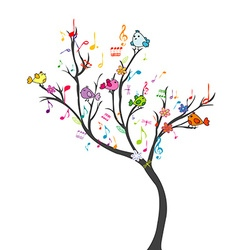 Happy tree with birds vector