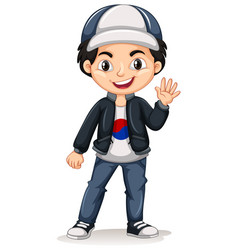 korean boy wearing cap and jacket vector image vector image