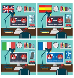 Learning online language school education vector