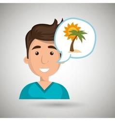 man tourist travel beach vacation vector image vector image