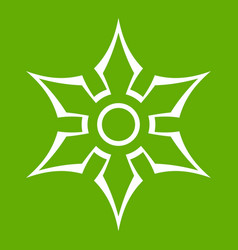 ninja shuriken star weapon icon green vector image vector image