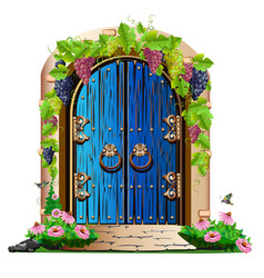 old wooden door in the garden vector image