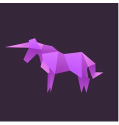 origami unicorn animals logo vector image