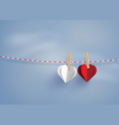 paper heart shape hanging on the lope vector image vector image