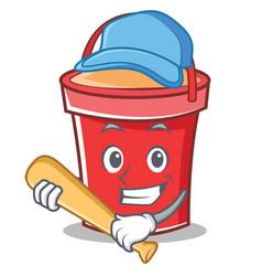 playing baseball bucket character cartoon style vector image vector image