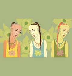 sad male hippie with a pigtail a set of three vector image vector image