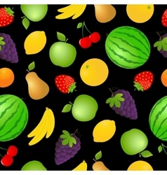 Seamless fruits and vegetables background vector image
