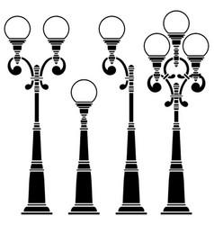 street lamps collection vector image vector image