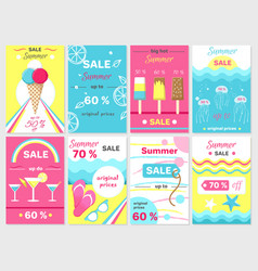 summer sale up to 70 promotional posters set vector image