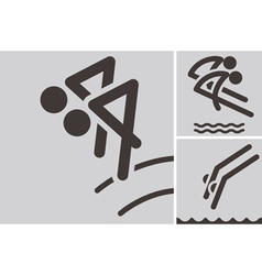 Synchronized diving icons vector