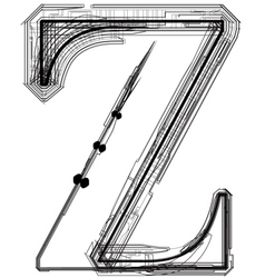 Technical typography Letter Z vector image vector image