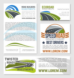 Templates of road construction builders vector