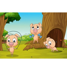 Three pigs at the forest vector