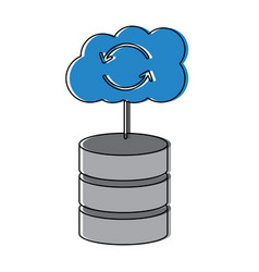 Web hosting server with internet cloud storage vector