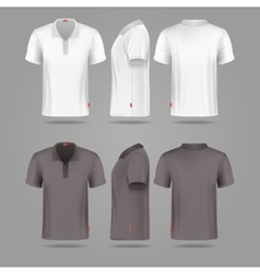 White black mens polo t-shirt front back and side vector