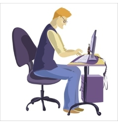 Man sitting in front of his computer and working vector