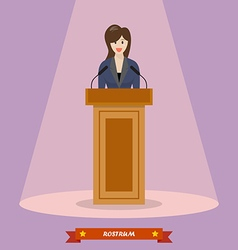 Politician woman standing behind rostrum and vector